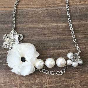 Silver Bib Necklace with Imitation Pearls